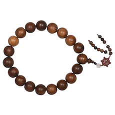 Chinese Huanghuali Wood Carved Buddha Prayer Rosary Bead Necklace 28mm