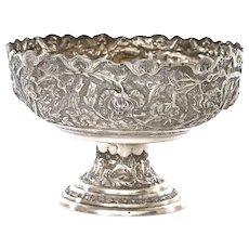 1930's Persian Silver Repousse Stem Bowl Tazza Compote Bird & Flower Mk 337 Gram