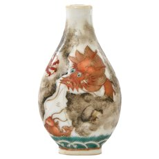 Late 19C Chinese Famille Rose Coral Red Glaze Porcelain Snuff Bottle Dragon Fish