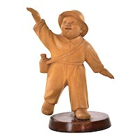 Chinese Cultural Revolution Boxwood Wood Carved Carving Boy Figure Figurine