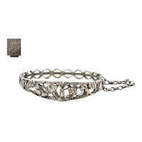 Early 20C Chinese Silver Bracelet Bangle Cuff Squirrel Grapes & Leaves