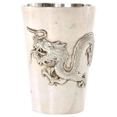 Old Chinese Silver Whiskey Shot Thimble Tumbler Beaker Cup Dragon Marked