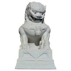 "Vintage Chinese White Glaze Biscuit Porcelain Fu Foo Dog Lion Baby 11""T 29CM"