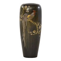 Old Japanese Mixed Metal Bronze Rooster Chicken Bird Vase Marked
