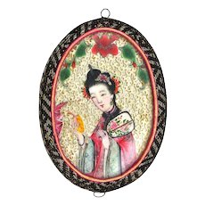 Late 19C Chinese Lady Mirror Pendant