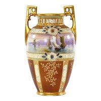 Japanese Nippon Gold Bead Jewel Mother Pearl Inlaid Moriage SailBoat Ship Vase