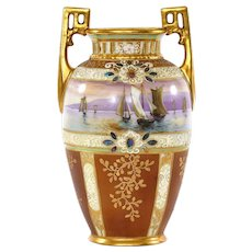 Japanese Nippon Gold Bead Jewel Mother Pearl Inlaid Moriage SailBoat Ship Vase