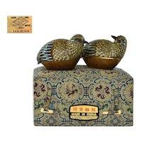 2 Vintage Chinese Gilt Sterling Silver Enamel Filigree Quail Bird Box MK Beijing
