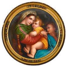 Antique Porcelain Plaque Painting Hand Painted Madonna Della Sedia