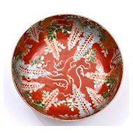 Early 20C Japanese Imari Arita Porcelain Coral Red Bowl Mk Chinese Famille Style