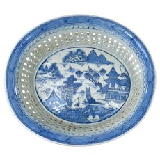 Old Chinese Export Blue & White Porcelain Reticulated Pierce Basket Bowl