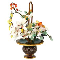 Chinese Agate Quartz Serpentine Spinach Jade Hardstone Tree Cloisonne Planter Basket