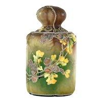 Old Japanese Moriage Nippon Style Porcelain Humidor Covered Jar Vase Chestnut