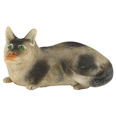 Late 19C Chinese Famille Rose Biscuit Porcelain Reclining Cat Figure Figurine