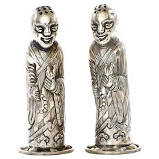 Chinese Silver Salt & Pepper Buddha Monk Figure Figurine Marked