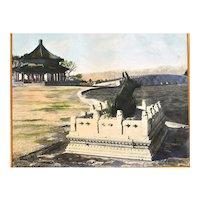 Chinese Hand Colored Photo Beijing China Summer Palace Scene 頤和園十七孔橋廓如亭銅牛 10x8