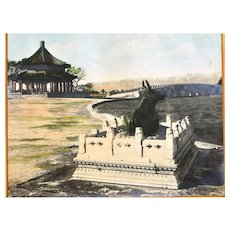 Chinese Hand Colored Photo Beijing China Summer Palace Scene 頤和園十七孔橋廓如亭銅牛 10x8