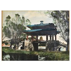 Old Chinese Hand Colored Photo Beijing China Summer Palace Scene 頤和園界湖橋佛香閣 10x8