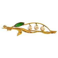 Old Chinese 18K Gold Jadeite & Cultured Pearl Brooch Pin Marked