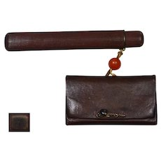 Old Japanese Leather Tobacco Pouch & Lacquer Pipe Case Kiseru Mixed Metal Clasp