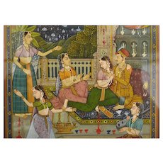 Frame India Indian Mughal Miniature Hand Painted Painting Maharaja Court Scene