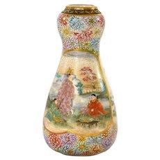 1930's Japanese Satsuma Earthenware Vase Geisha Figure Chrysanthemum Mk 寶山
