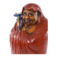 "Old Japanese Kutani Porcelain Daruma Buddha Monk Figure Figurine 12"""