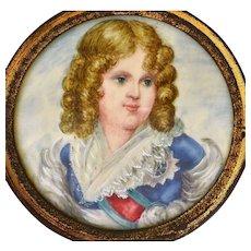 Antique Victorian Miniature Portrait Painting Figure Lady Wood Frame