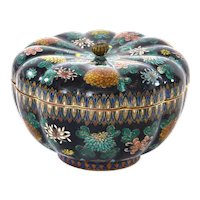 Old Japanese Goldstsone Cloisonne Enamel Box Millefleur Chrysanthemum Shaped