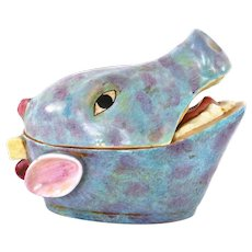 Early 20C Chinese Export Famille Rose Porcelain Hog Pig Head Cov Bowl Tureen Box