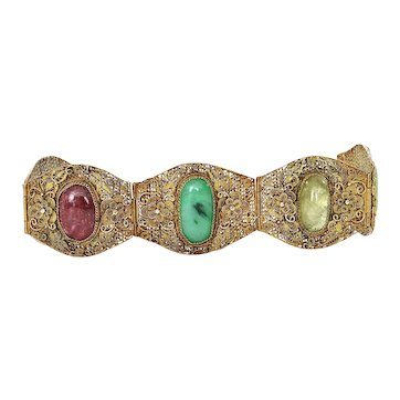 Chinese Gilt Silver Filigree Jade Jadeite Tourmaline Bracelet Mk