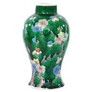 19C Chinese Sancai Green Ground Porcelain Flower Plum Blossom Vase