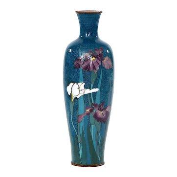 1920's Japanese Aquamarine Color Silver Wire Cloisonne Enamel Shippo Vase Iris