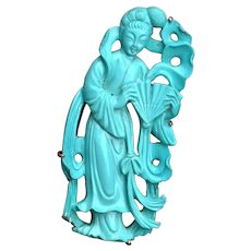 Old Chinese Turquoise Carved Carving Lady Figure with Fan Silver Pin Brooch