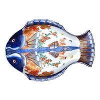 Japanese Imari Arita Seiji Kaisha Porcelain Double Fish Plate Dish Butterfly Mk