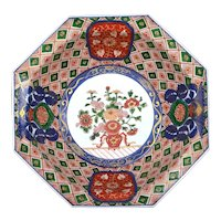 Old Japanese Imari Arita Porcelain Hexagon Bowl Dutch Foreigner & Flower Mk