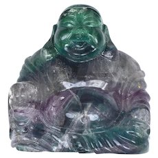 Chinese Rainbow Fluorite Quartz Carved Carving Seated Buddha Bodi Figure 454G