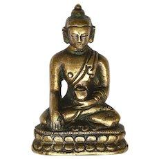 19th Century Chinese Bronze Miniature Seated Buddha