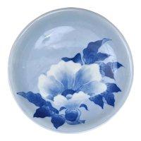 1910's Japanese Blue & White Relief Moriage Hirado Porcelain Flower Plate