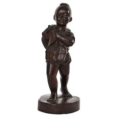 Chinese Culture Revolution Wood Carved Carving Boy Figure Figurine