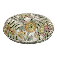 1950's Chinese Cloisonne Enamel Oval Box Flower Butterfly
