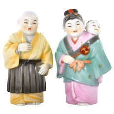Japanese Toshikane Monk & Babysitter Salt Pepper shaker Marked