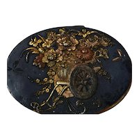 1900's Japanese Gilt Mixed Metal Shakudo Reilef Pill Box Flower Carriage Signed