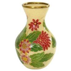 Vintage Japanese Plique a Jour Cloisonne Enamel Shippo Vase Flowers