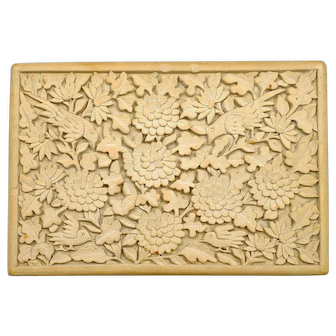 Old Chinese Cream Cinnabar Lacquer Deep Carved Carving Box Flowers & Bird Mk