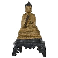 15th Century Ming Chinese Gilt Lacquer Bronze Seated Buddha on Stand