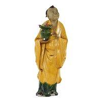 "1930's Chinese Export Shiwan Mudman Mudmen Mud Man Pottery Buddha 13"" - AS IS"