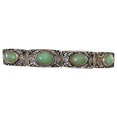 Old Chinese Silver Plated Filigree Chrysoprase Bead Bracelet NOT JADE NOT SILVER