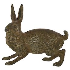 Large Antique Austrian Vienna Cold Painted Bronze Hare Rabbit Bunny 319 Gram