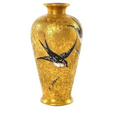 Antique French Limoges Gold Ground Porcelain Vase Swallow Bird Sg E. Benoit